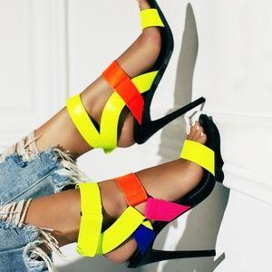 NEW🔥 Neon Open Toe Gladiator Sandal Stiletto Heel
